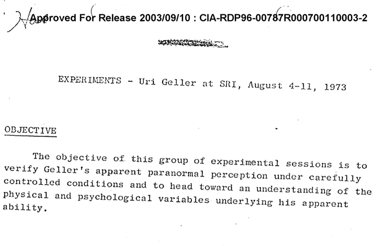 Uri Geller in a STARGATE document