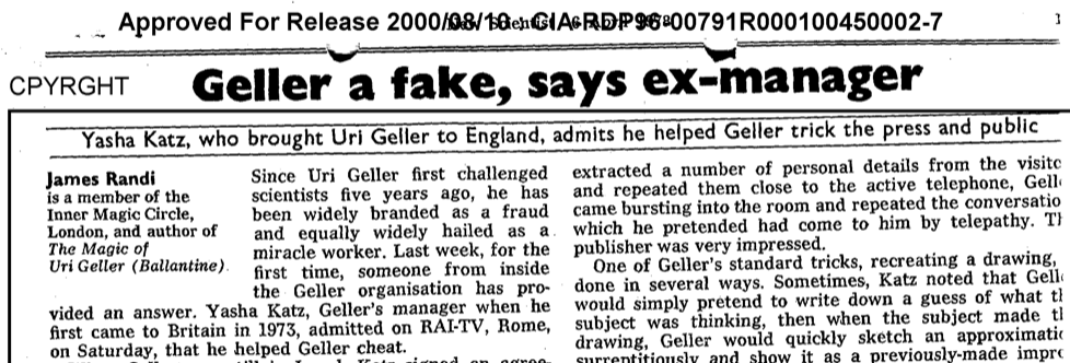 Geller is a Fake, says ex-manager