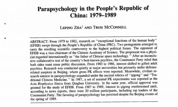 Parapsychology Research in China is on the rise