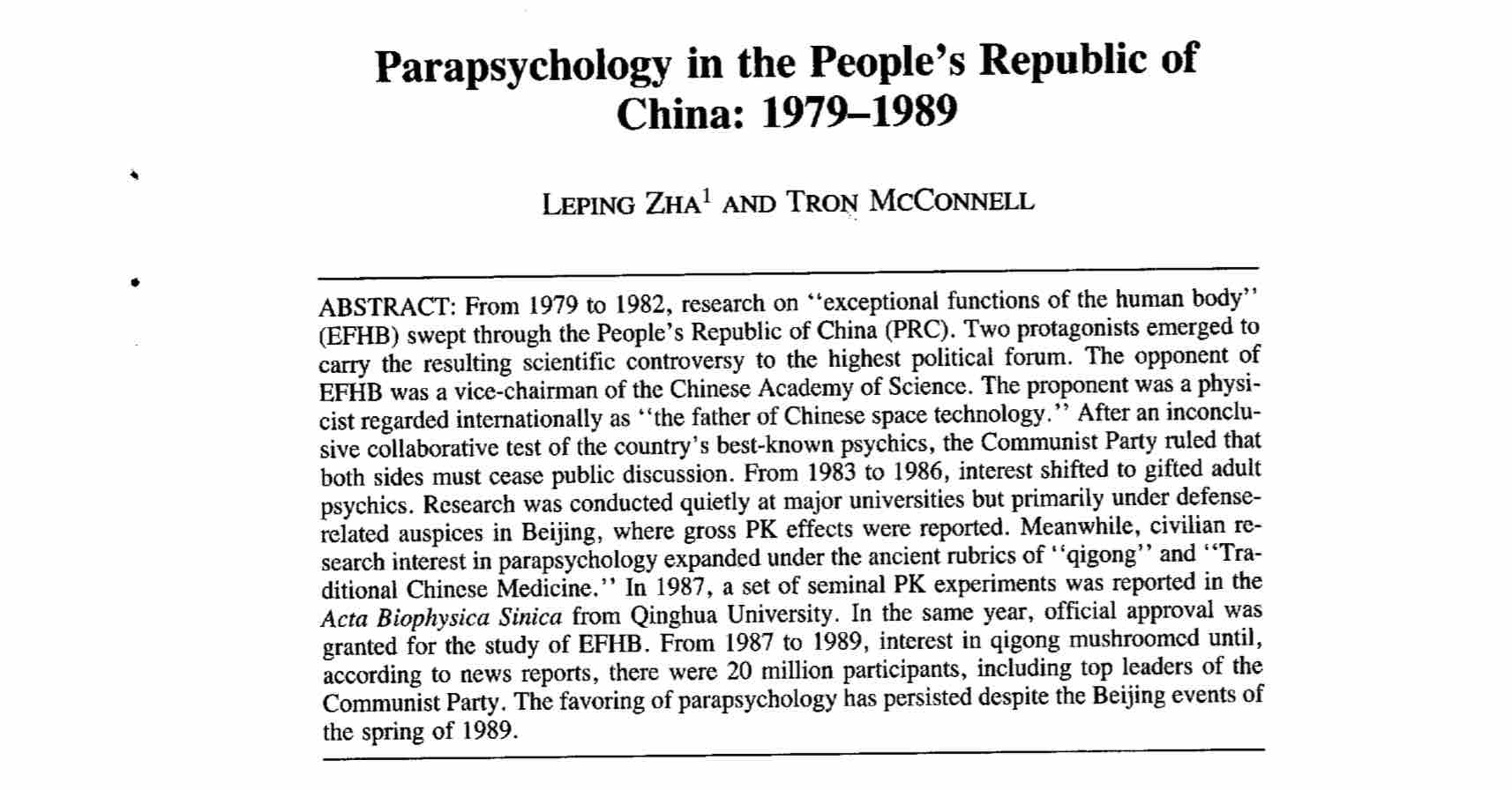 Parapsychology in the People's Republic of China